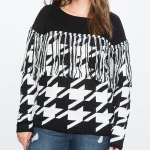NWOT Eloquii houndstooth fringe sweater
